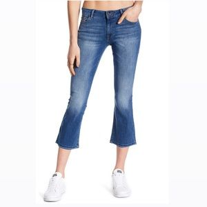 DL1961 Lara Cropped Flare Crown Blue Raw Hem Jeans